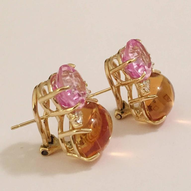 Large GUM DROP™ Earrings with Citrine and Cabochon Pink Topaz and Diamonds 2