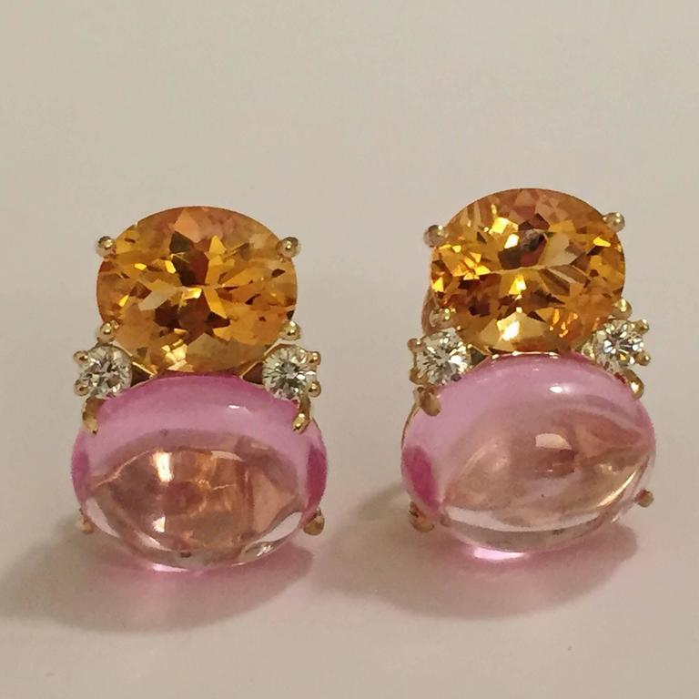 Large GUM DROP™ Earrings with Citrine and Cabochon Pink Topaz and Diamonds 3