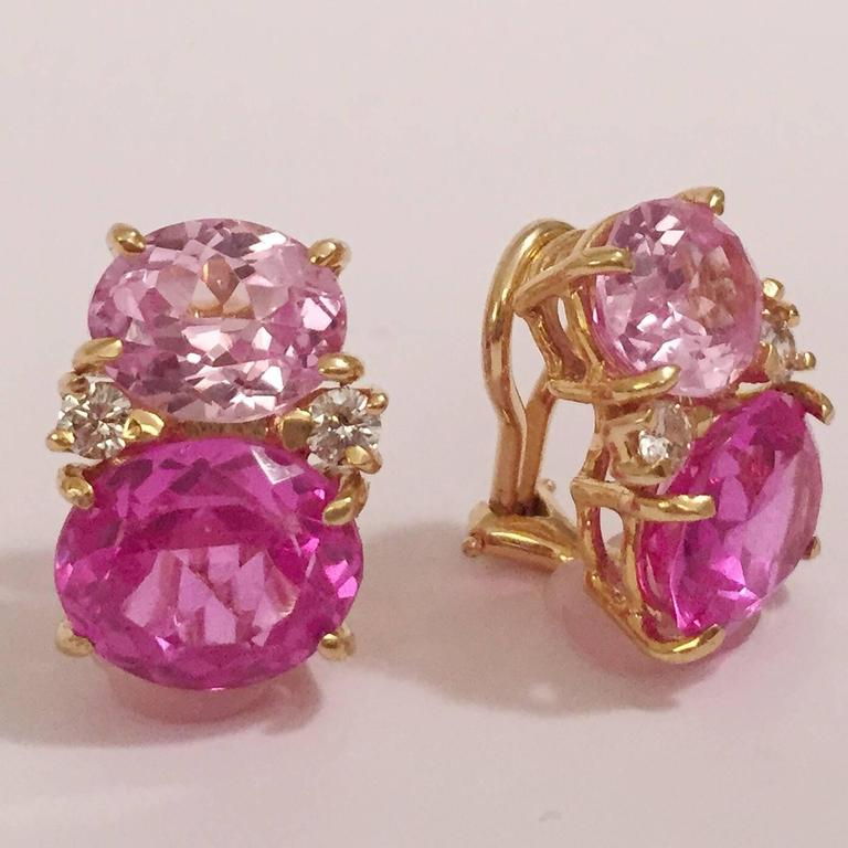 Medium GUM DROP™ Earrings  with Pink Topaz and Diamond  2