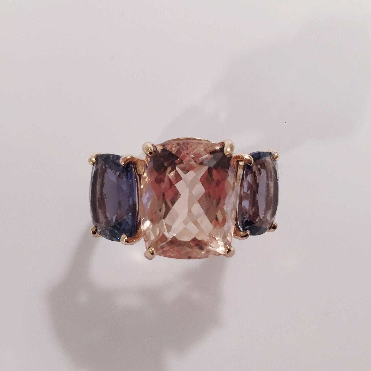 Morganite Iolite Gold Three Stone Cushion Ring For Sale at 1stdibs
