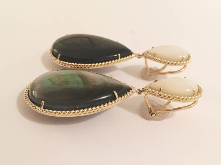Mother of Pearl Abalone Drop Twisted Gold Border Earrings  2