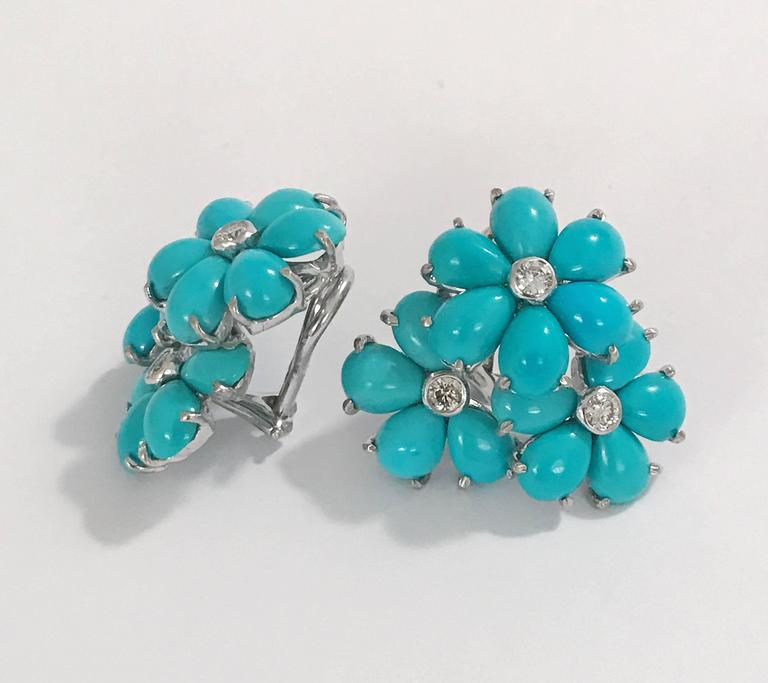 18kt White Gold Turquoise Flower Cer Earring With Diamonds Measures 1 Inch Across The Top And