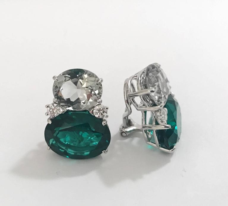 18kt Yellow Gold Large GUM DROP™ Earrings with pale green amethyst and deep green Topaz and diamonds. The Top oval faceted Green Amethyst is approximately 5 cts each and the Bottom Deep Green Topaz is approximately 12 cts each, and 4 diamonds