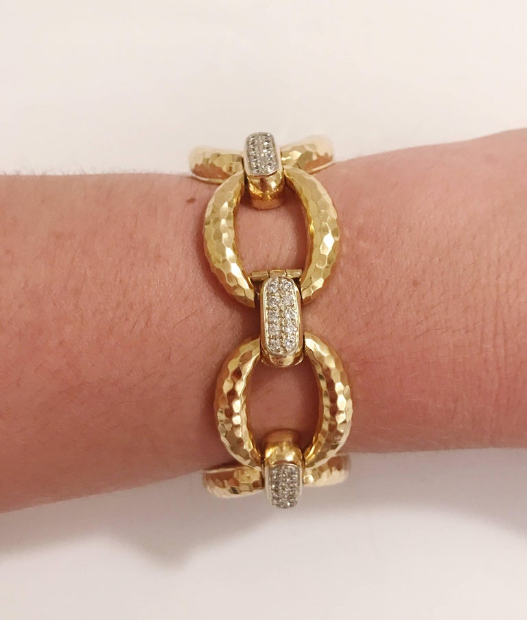 Gold Hammered Link Bracelet with Diamonds 4