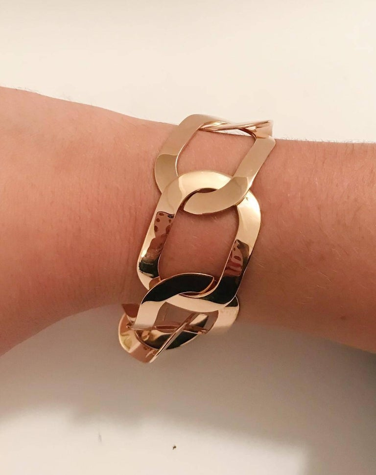 18 Karat Rose Gold Oval Link Bracelet In New Condition For Sale In New York, NY