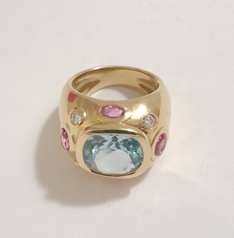 Cushion Cut Bonheur Ring, Blue Topaz and Pink Topaz and Diamond Yellow Gold Domed Ring For Sale