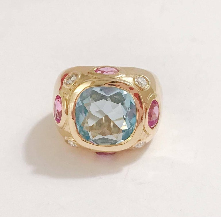 Modern Bonheur Ring, Blue Topaz and Pink Topaz and Diamond Yellow Gold Domed Ring For Sale