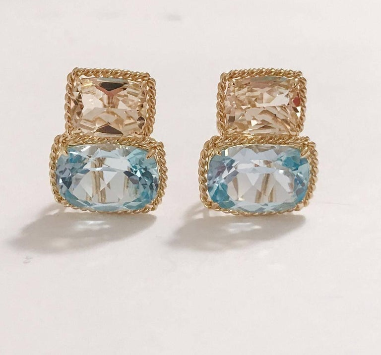 "Elegant 18kt Yellow Gold Rope Twist Border two stone Earring with faceted Lemon Citrine and Pale Blue Topaz. This is a classic day to evening earring that can be made clip or pierced.  The meaning measures 3/4' tall and 1/2"" wide.  The Rope"
