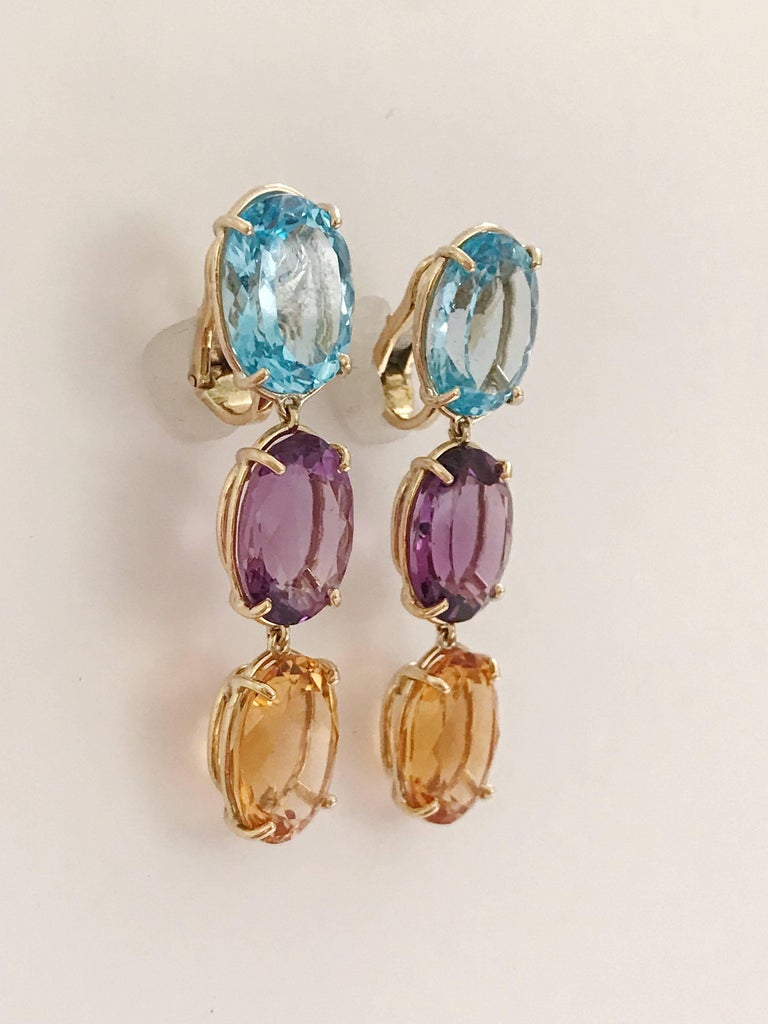 Contemporary Elegant Three-Stone Drop Earrings For Sale