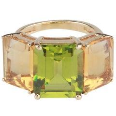 18 Karat Yellow Gold Emerald Cut Ring with Citrine and Peridot