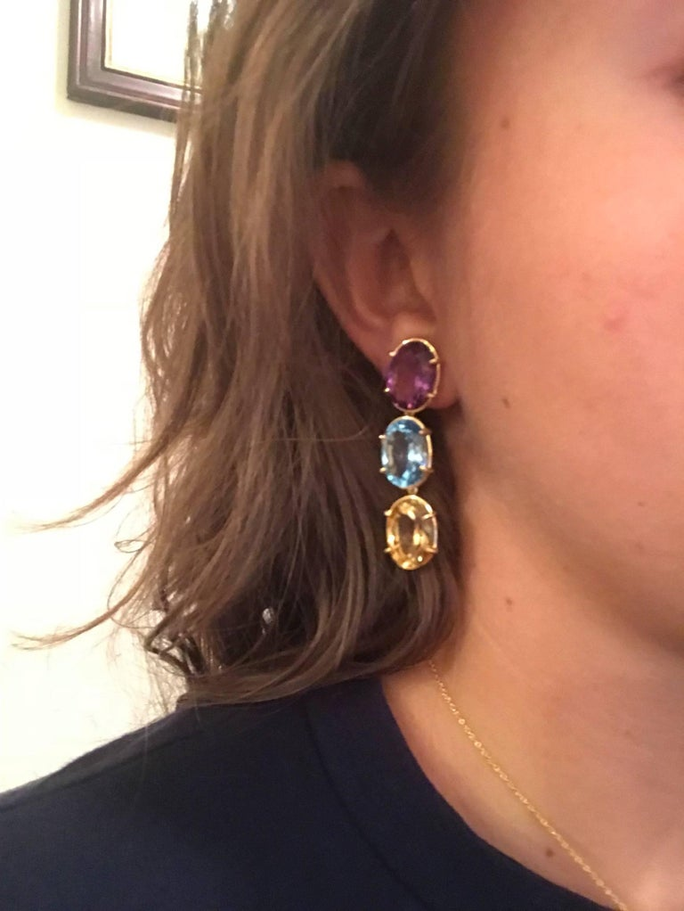 Elegant Three-Stone Drop Earring with Amethyst and Blue Topaz and Citrine In New Condition For Sale In New York, NY