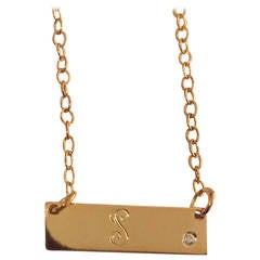 Mini Bar Necklace with elegant Script Initial and offset diamond accent