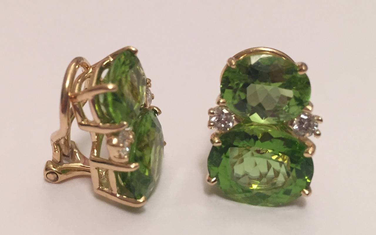 Contemporary Medium GUM DROP™ Earrings with Peridot and Diamonds For Sale