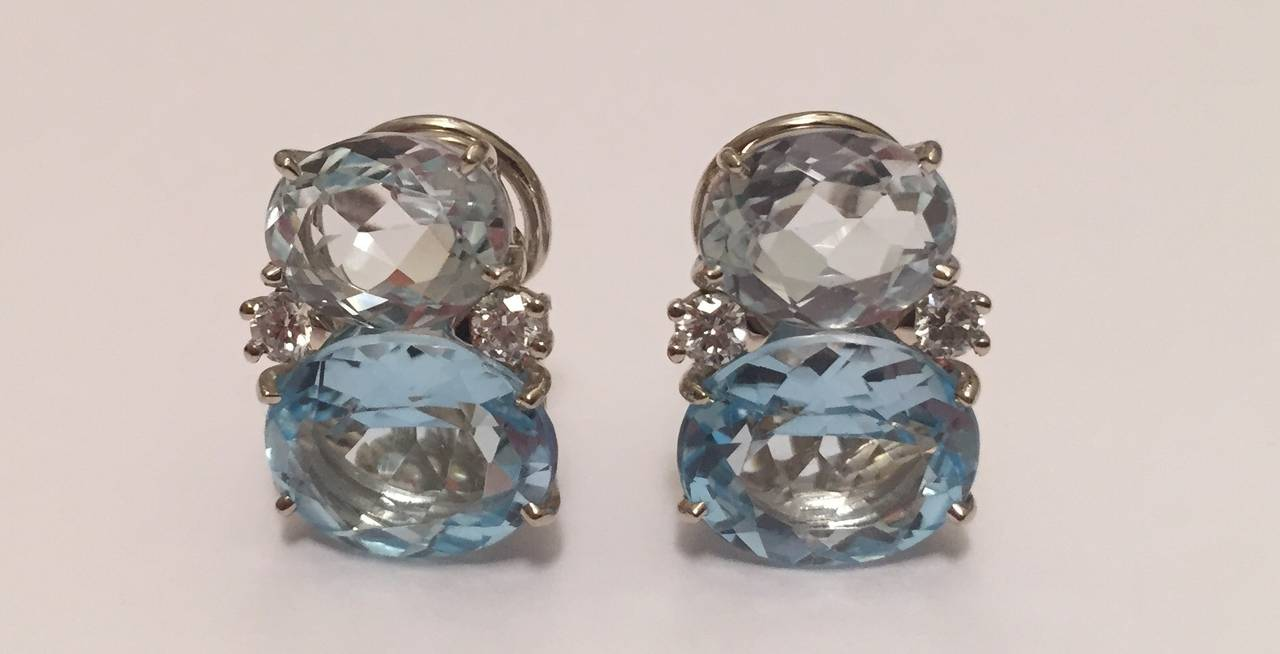 Medium GUM DROP™ Earrings with Rock Crystal and Pale Blue Topaz and Diamonds 2
