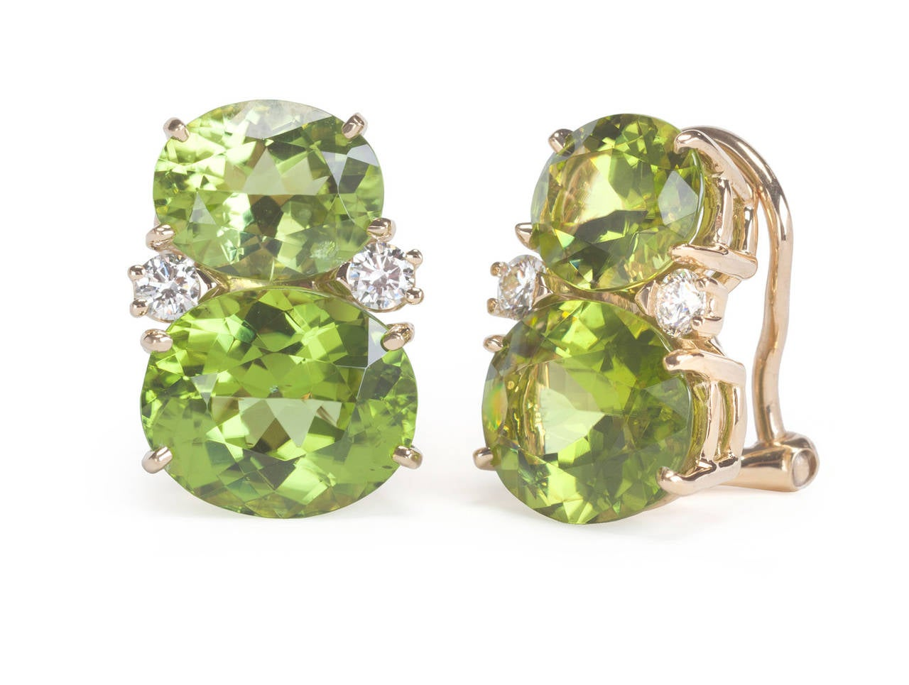 Medium GUM DROP™ Earrings with Peridot and Diamonds In As New Condition For Sale In New York, NY