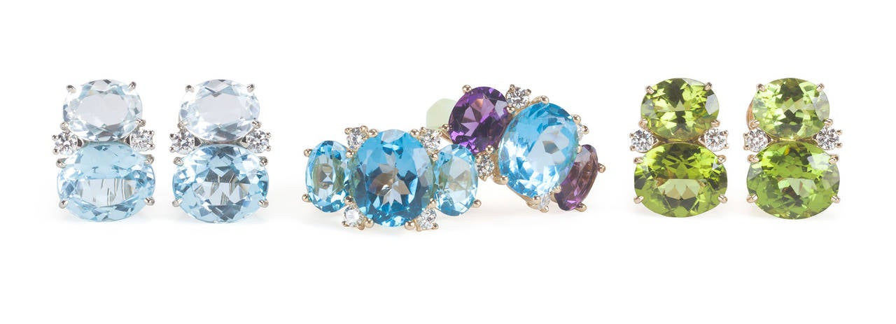 Medium GUM DROP™ Earrings with Rock Crystal and Pale Blue Topaz and Diamonds 4
