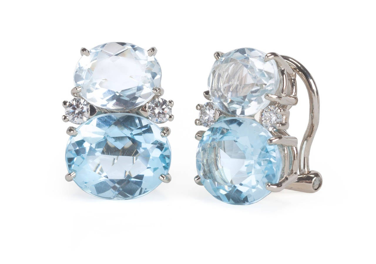 Medium GUM DROP™ Earrings with Rock Crystal and Pale Blue Topaz and Diamonds 3