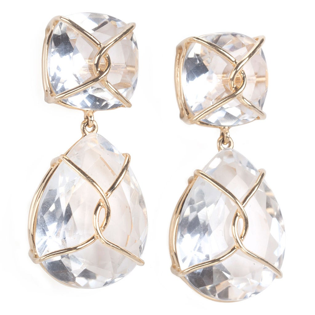 Rock Crystal and Twisted Gold Drop Earrings