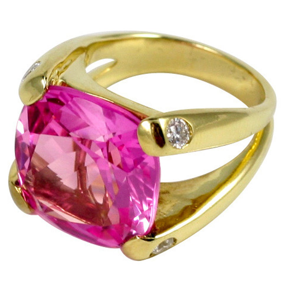 Faceted Cushion Cut Pink Topaz Dome Ring with Diamonds 1