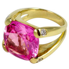 Faceted Cushion Cut Pink Topaz Dome Ring with Diamonds
