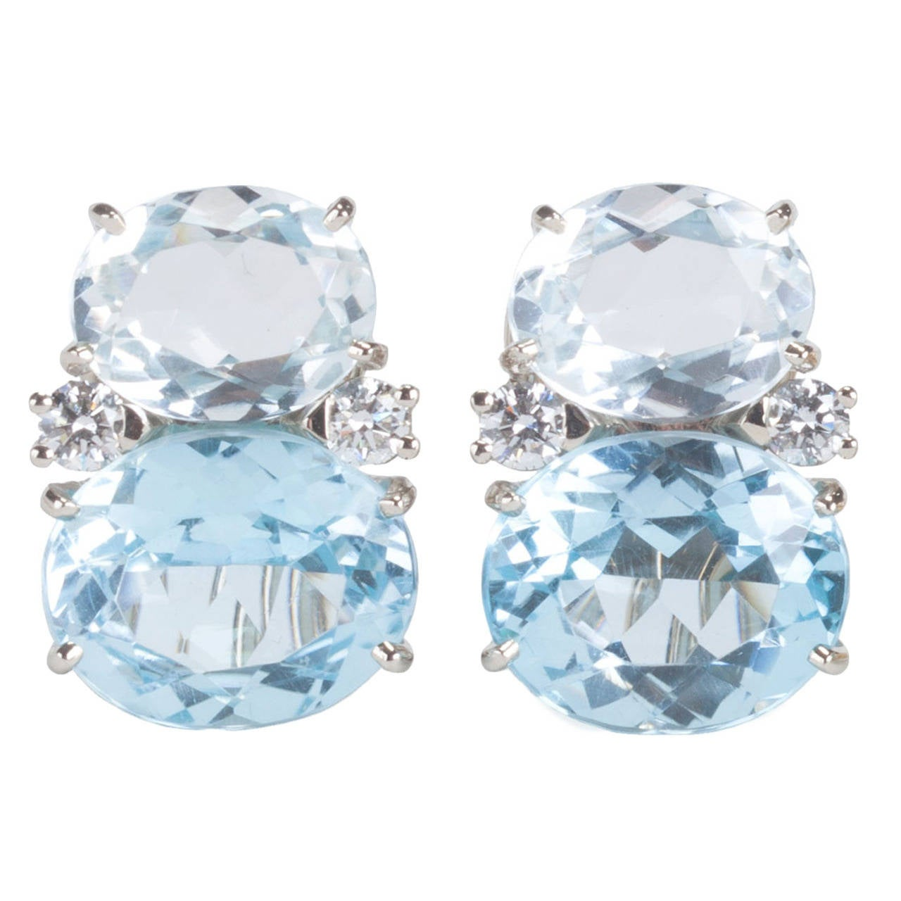 Medium GUM DROP™ Earrings with Rock Crystal and Pale Blue Topaz and Diamonds 1