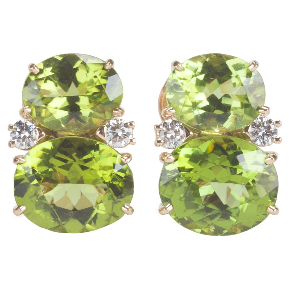 Medium GUM DROP™ Earrings with Peridot and Diamonds For Sale
