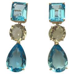 Geometric Amethyst Blue Topaz Drop Earring