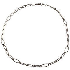White Gold marquise Link choker Necklace