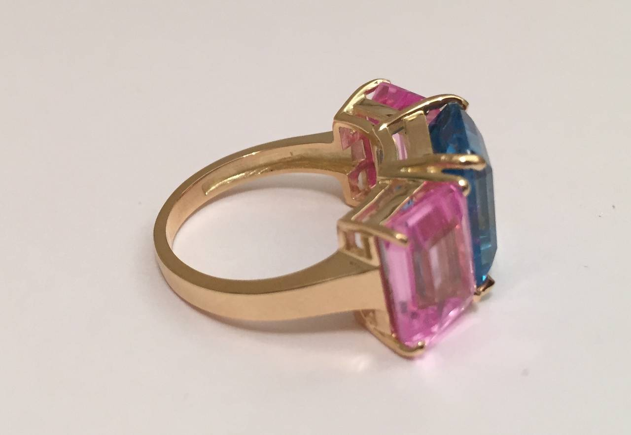 Bright Blue and Bright Pink Topaz Emerald cut three stone ring 2