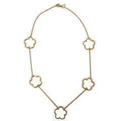 Gold Five Open Clover Station Necklace