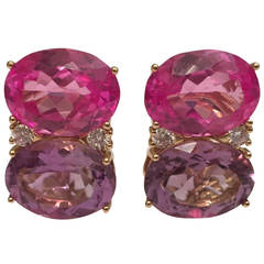 Grande GUM DROP™ Earrings with Pink Topaz and Purple Amethyst and Diamonds