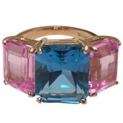Bright Blue and Bright Pink Topaz Emerald cut three stone ring