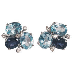 Blue Topaz Iolite Diamond Gold Mini Pebble Earrings