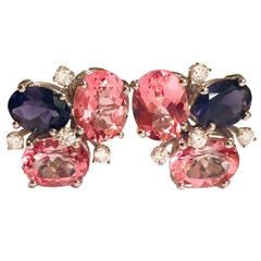 Pink Topaz Iolite Diamond Gold Mini Pebble Earrings