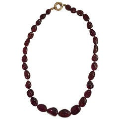 Elegant Rubelite Bead Necklace with a Gold clasp