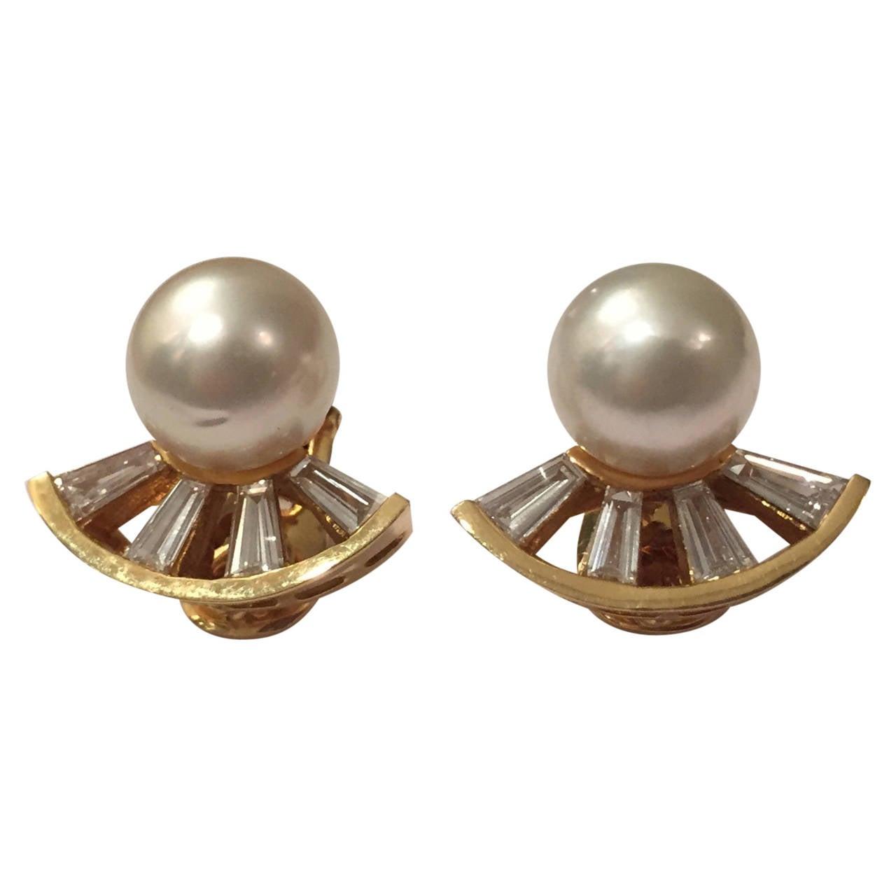 Andrew Clunn Elegant Pearl Baguette Diamond Gold Ear Clips For Sale