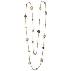 Elegant Multiple Semi Precious Stone Gold Necklace