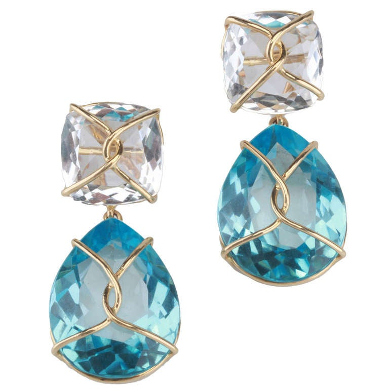 Yellow Gold Wrapped Drop Earring with Rock Crystal and Blue Topaz
