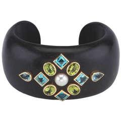 Peridot Blue Topaz Pearl Wood Cuff Bracelet