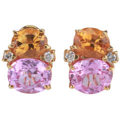 Medium GUM DROP™ Earrings with Deep Citrine and Pink Topaz and Diamonds