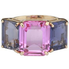 Yellow Gold Emerald Cut Ring with Pink Topaz and Iolite
