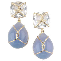 Yellow Gold Wrapped Drop Earring with Rock Crystal and Cabochon Chalcedony