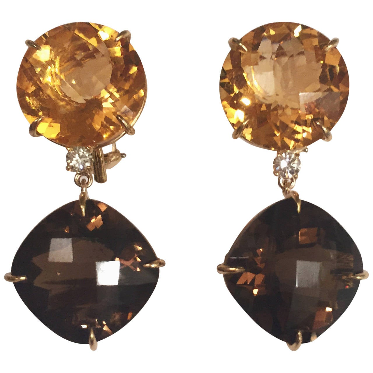 Andrew Clunn Large Solitaire Citrine Smoky Topaz Diamond drop Earrings For Sale