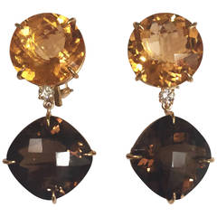 Andrew Clunn Large Solitaire Citrine Smoky Topaz Diamond drop Earrings
