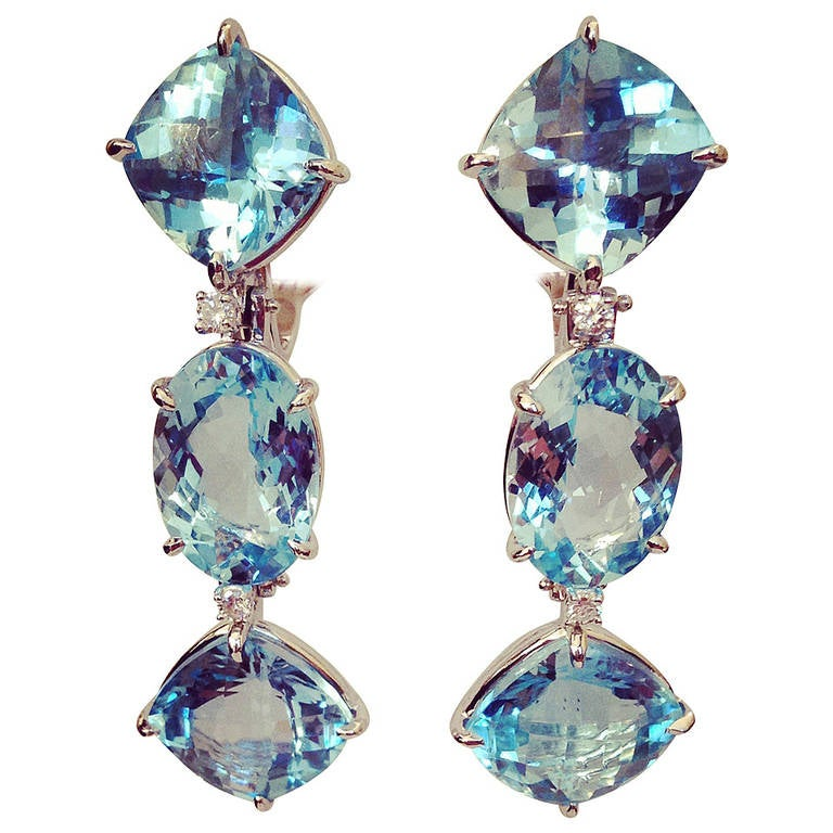 Blue Topaz Diamond White Gold Three Stone Drop Earring