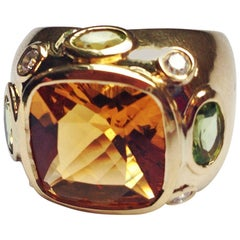 The BONHEUR Ring:  Citrine Peridot Diamond Yellow Gold Domed Ring