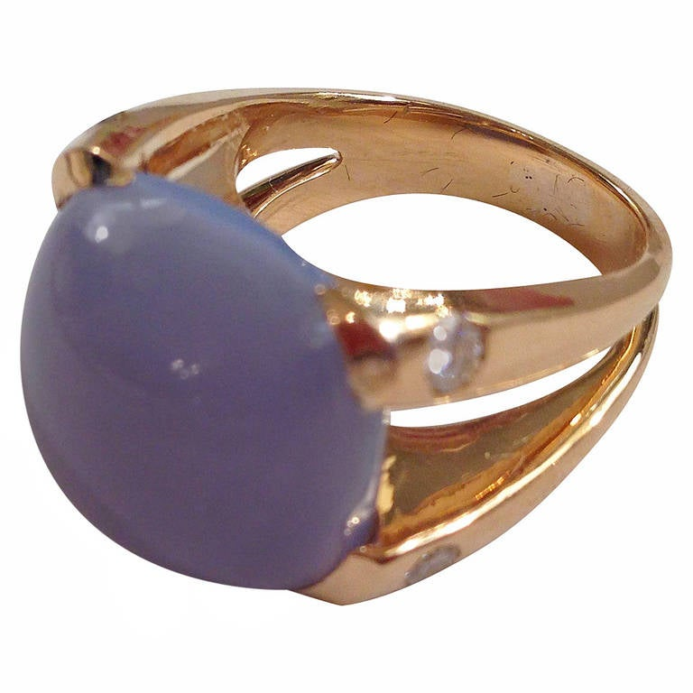 Yellow Gold Cushion Ring with Cabochon Chalcedony and Diamonds