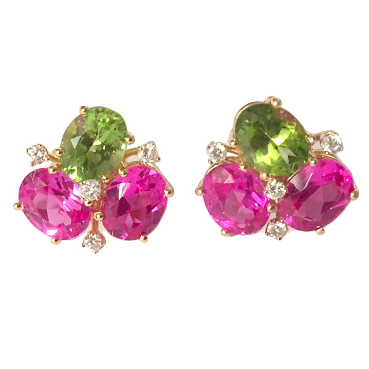 Pink Topaz Peridot Diamond Yellow Gold Mini Pebble Earrings