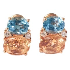 Medium GUM DROP™ Earrings with Blue Topaz and Citrine and Diamonds