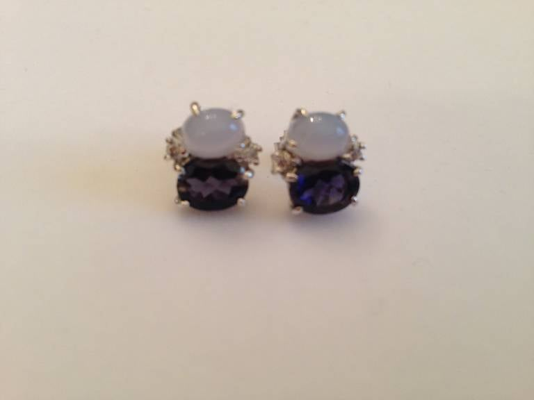 Contemporary Mini Mini GUM DROP™ Earrings with Cabochon Chalcedony and Iolite and Diamonds For Sale